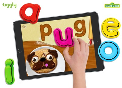 Sesame Street Alphabet Kitchen app interacting with Tiggly Words connected toys