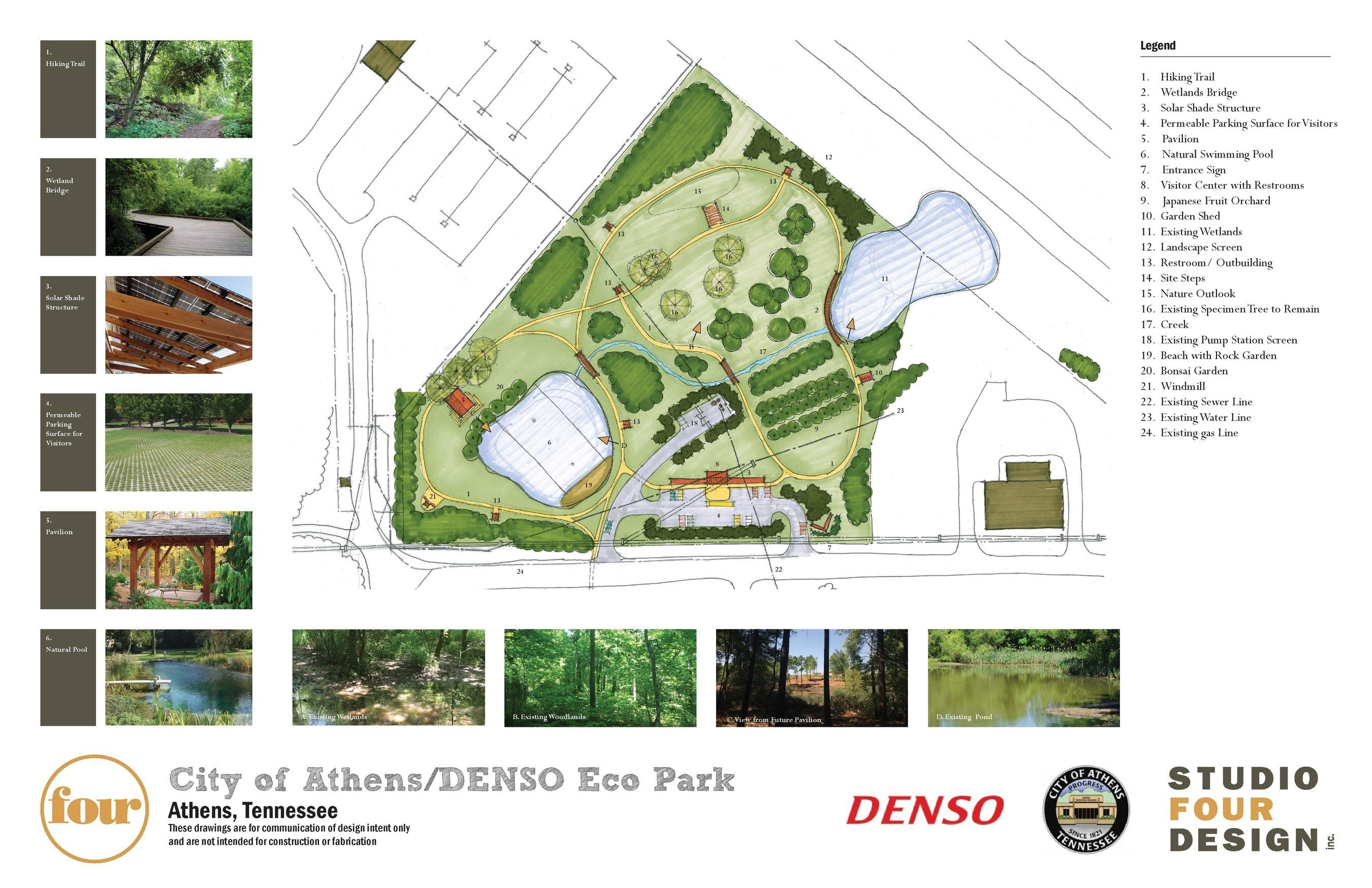 Studio Four Design brings the sustainable, Japanese-inspired eco-park vision of DENSO Manufacturing Athens Tennessee to life.