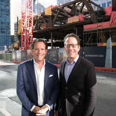 Pacific Union CEO Mark A. McLaughlin and The Mark Company President, Alan Mark in front of 181 Fremont in San Francisco.