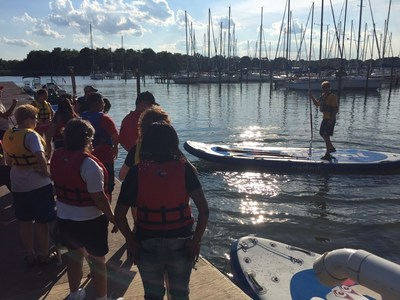 Wounded veterans recently participated in a monster stand-up paddleboarding competition at a program gathering with Wounded Warrior Project in Middle River, Maryland.