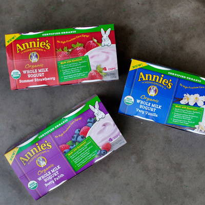Introducing Annie's Organic Whole Milk Yogurt in three delicious varieties, including Summer Strawberry, Berry Patch & Very Vanilla. Also available in Grass Fed.
