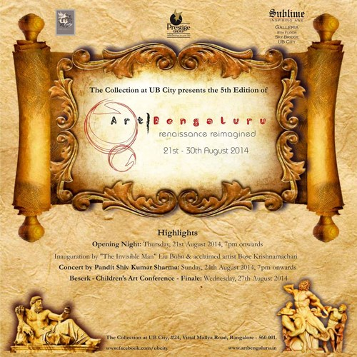 UB City presents Art Bengaluru, South India's largest Art Festival in Bangalore, from 21-30 Aug '14! ...