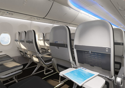 LIFT by EnCore Tourist Class Seating spatially, structurally and aesthetically integrated into the 737 Boeing Sky Interior