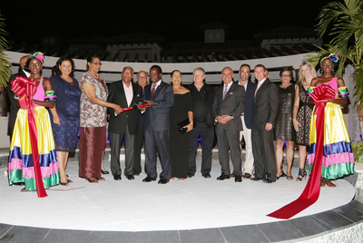 """From Left to Right - Hon. Alexandra Otway-Noel - Minister of Tourism, Civil Aviation & Culture, Her Excellency Dame Cecile La Grenade, GCMG, OBE, PhD - Governor General of Grenada, Sir Royston Hopkin, K.C.M.G., Michael McIntyre, Dr. the Rt. Hon. Keith Mitchell - Prime Minister of Grenada, Lady Betty Hopkin, Gordon """"Butch"""" Stewart - Chairman of Sandals Resorts, Joseph Cinque - President of American Academy of Hospitality Sciences , Terrence DesVignes - Sandals Resorts International Project Manager, Adam Stewart - CEO of Sandals Resorts, Betty Jo Desnoes - Director of Sandals Resorts International Projects, Sarah Hartman - Sr. Designer for Hospitality Purveyors, Inc. (PRNewsFoto/Sandals Resorts)"""