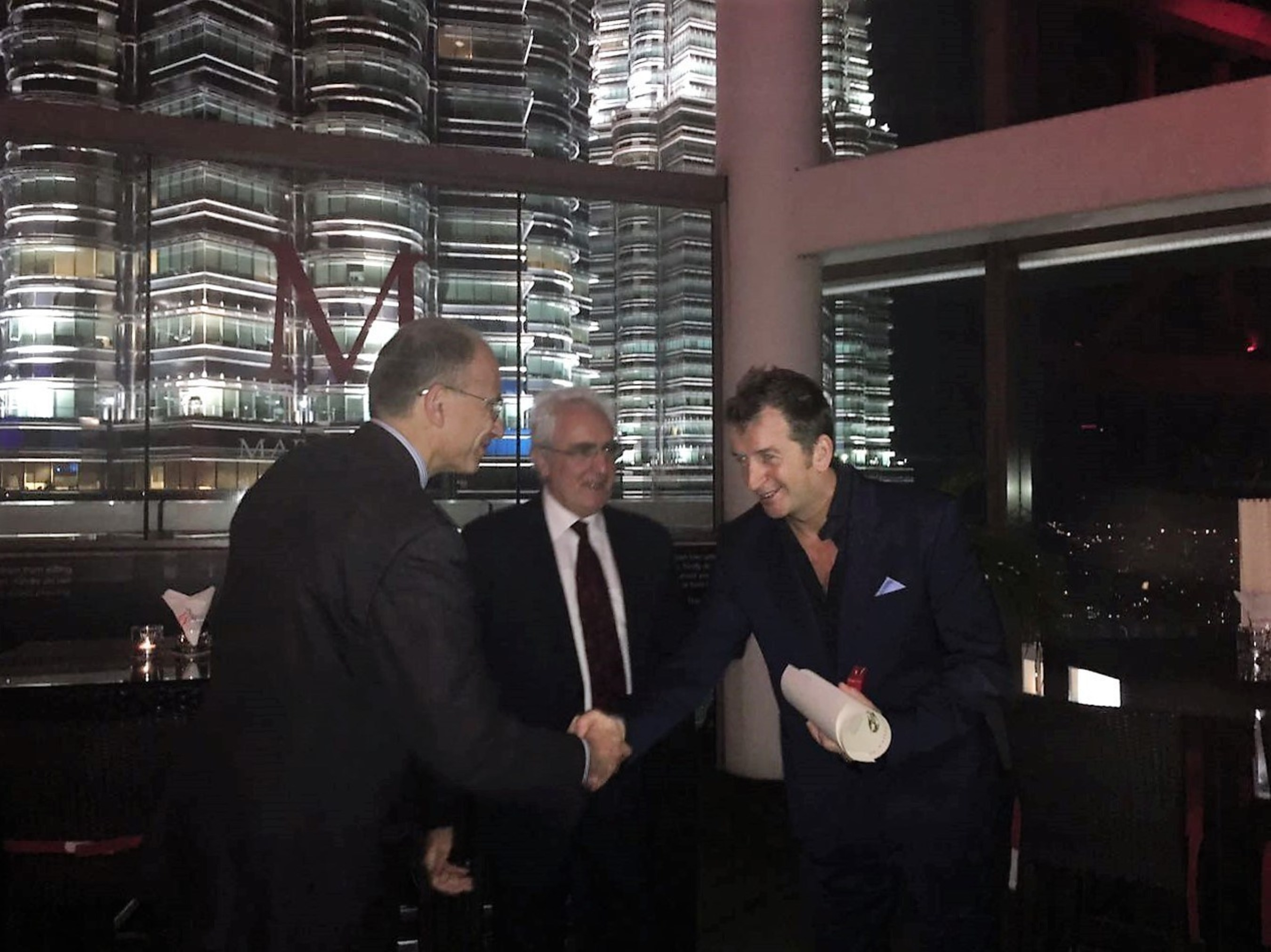 Italian ambassador to Malaysia, HE Mario Sammartino, and former Prime Minister of Italy, Enrico Letta, presenting the Cavaliere dell'Ordine Della Stella D'Italia to Modesto Marini, Founder of The Marini's Group.