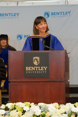 BJ'S Wholesale Club Inc. President and CEO Laura Sen addresses graduates at Bentley University's Graduate School of Business commencement ceremony.