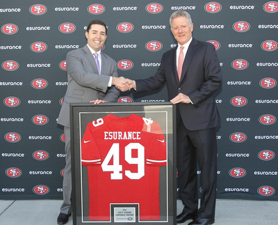 49ers CEO Jed York (left) with Esurance President and CEO Gary C. Tolman (right)