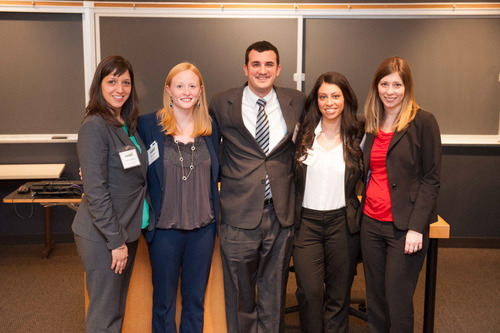A team of MBA students in the Pharmaceutical Management Program at Rutgers Business School.-- from left: Denise Kubata, Sarah Kruse, Mitchell Ezra, Rema Bitar and Michelle Finn -- recently won third place in a national healthcare case competition.  (PRNewsFoto/Rutgers Business School)