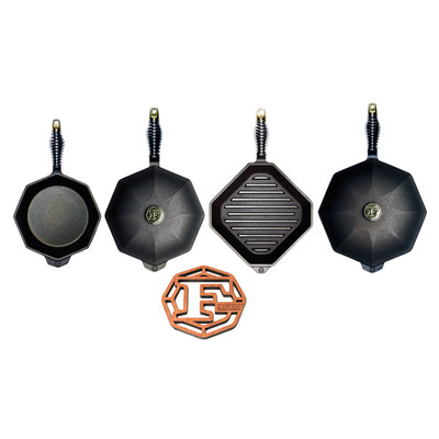 "The FINEX Complete Heirloom 7-Piece Set has every size for every possible cast iron creation. The set includes the FINEX No. 10 and No. 12 Cast Iron Skillets, matching pre-seasoned 10"" and 12"" cast iron skillet lids, the FINEX No. 8 Cast Iron Skillet, the FINEX No. 10 Grill Pan, and the FINEX Laser Cut Cherry Wood Trivet."