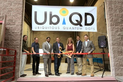 The UbiQD team celebrates the opening of its new quantum dot manufacturing facility in Los Alamos, New Mexico on July 29, 2016. From left to right: Board Members Dudley McDaniel and Colin Cumming, Director Karthik Ramasamy, Founder and President Hunter McDaniel, Board Member Katharine Chartrand, Director Aaron Jackson, and Director Matt Bergren.