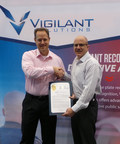 Vigilant Solutions' Shawn Smith receiving certificate from Long Beach Police Department's Deputy Chief David Hendricks