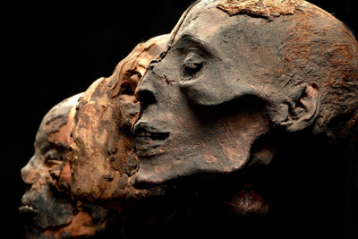 These Egyptian mummy heads are part of the Mummies of the World exhibition, the largest traveling exhibition of mummies and artifacts ever assembled. Two centuries ago, Egyptian mummies were frequently cut into pieces and sold, often to tourists. (Photo credit: American Exhibitions, Inc.).  (PRNewsFoto/Mummies of the World)