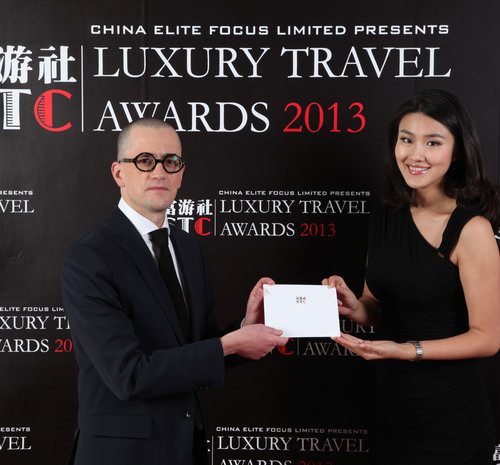 Pierre Gervois at Shanghai Travelers' Club Luxury Travel Awards 2013.  (PRNewsFoto/China Elite Focus Limited)