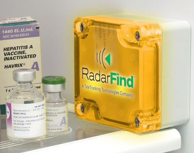 RadarFind NIST-traceable temperature tag wirelessly monitors clinical refrigerator/freezer temperatures.  (PRNewsFoto/TeleTracking Technologies, Inc.)