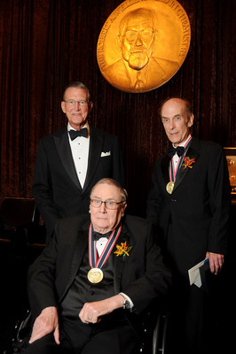 Charles W. Tate, Chair and Director, The Welch Foundation Board of Directors; Dr. Richard H. Holm; and Dr. Stephen J. Lippard. Photo by Dave Rossman
