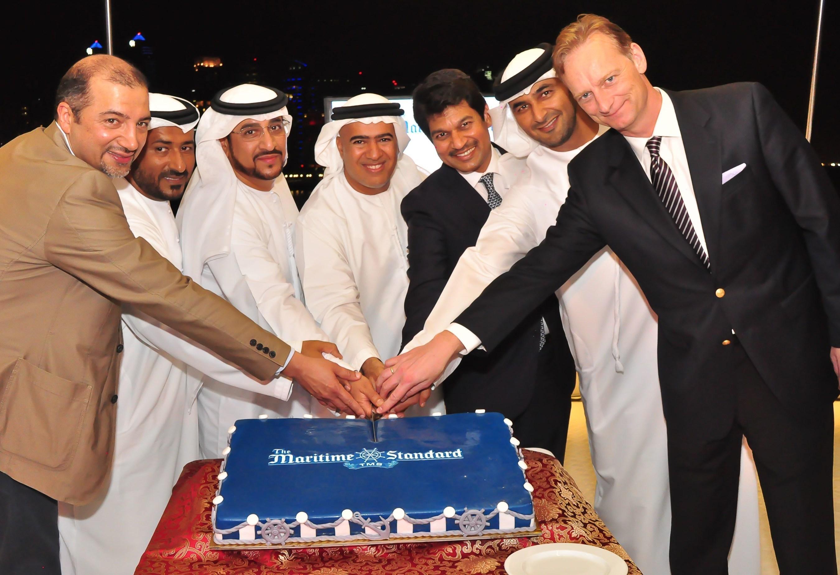 From left to right: Ali Shehab Ahmed, Deputy CEO, KOTC; Abdulla Salem Al Muharrami, CEO advisor, Abu Dhabi Port, H.E. Salem Al Zaabi; Dr. Ali Obaid Al Yabhouni, Former CEO ADNATCO NGSCO; Trevor Pereira, Managing Director, The Maritime Standard; Abdulkareem Mubarak Ahmed Al Masabi, Chairman, Abu Dhabi Terminals; Thomas Kriwat, Chief Executive, Mercmarine Group of Comapnies (PRNewsFoto/Flagship Events)