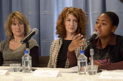 Plan presents at Empowering Girls: Education and Technology at the CSW.(Linda Raftree, left. Fabiola, right).  (PRNewsFoto/Plan International USA, Bartram Nason)