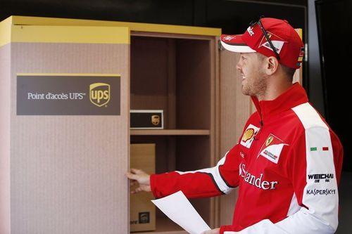 Scuderia Ferrari Driver, Vettel uses the pop-up UPS Access Point in Montreal (PRNewsFoto/UPS)