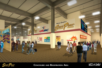 Interior rendering of new South Point bowling tournament facility.