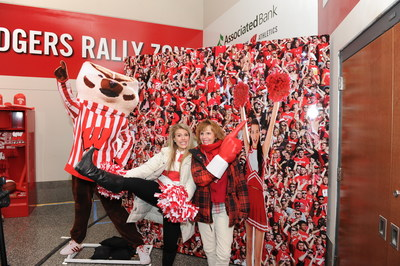 Fans enjoying the Badgers Rally Zone 3-D photo booth