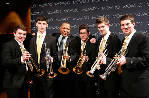 Wynton Marsalis with members of the Jazz at Lincoln Center Youth Orchestra.(PRNewsFoto/Movado Group, Inc.)
