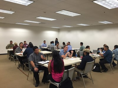 Wounded veterans practice interviewing with real companies during a job interview workshop in Hawaii.