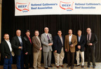 The 2012 National Retail Beef Backer Winners from left to right: Jerry Tingey, Mike Smith, Brandon Leonard, with Broulim's Fresh Foods; Jim Wojewodzki and Jim Lane with Tops Friendly Markets; Fred Printzlau and Luke LaPerriere with Harris Teeter; and Gary O'Brien and Gary Redner with Redner's Warehouse Markets.  (PRNewsFoto/Beef Checkoff)