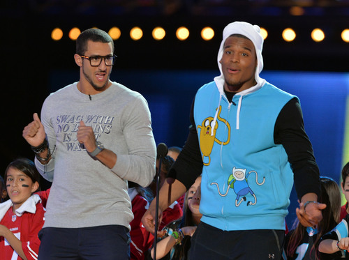 Colin Kaepernick and Cam Newton co-host Cartoon Network's 2014 Hall of Game Awards. (PRNewsFoto/Cartoon ...