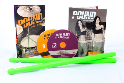 """Order POUND Rockout Workout DVD """"Album 1: Sweat. Sculpt. Rock."""" at www.poundfit.com/dvd. (PRNewsFoto/POUND Rockout Workout) (PRNewsFoto/POUND ROCKOUT WORKOUT)"""