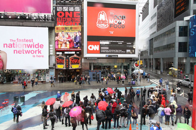A 125-person flash mob conducted a sing-along to the Arby's. It's Good Mood Food.(TM) ad in New York's Times Square earlier this week.