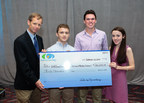 Young people with narcolepsy John Grady, Thomas Gow, and Liz Guckian present $30,000 check to Harvard's Dr. Thomas Scammell.