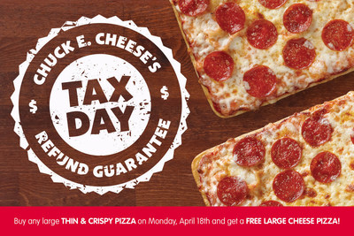 Buy any one large Thin + Crispy Pizza on Monday April 18 and get a free large cheese pizza.