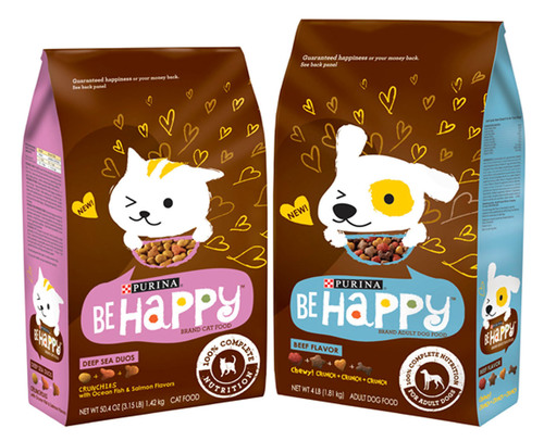 Be Happy is a new pet food brand by Nestle Purina PetCare Company that celebrates happiness as a way of seeing the world. The brand has infused that philosophy into the packaging for its 100 percent complete and balanced dry dog and cat food varieties, and into its social media properties, including its Facebook page  and mobile photo app.  (PRNewsFoto/Nestle Purina PetCare Company)