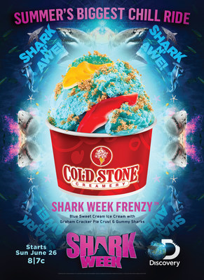 The Shark Week Frenzy Creation is made with Blue Sweet Cream Ice Cream mixed with graham cracker pie crust and gummy sharks.