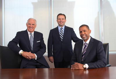 Independence Blue Cross and Blue Cross Blue Shield of Michigan will be partnering to expand services to Medicaid beneficiaries nationwide through AmeriHealth Mercy. From left to right: Daniel J. Hilferty, Independence Blue Cross president and CEO; Daniel J. Loepp, Blue Cross Blue Shield of Michigan president and CEO; and Michael A. Rashid, AmeriHealth Mercy Family of Companies president and CEO.  (PRNewsFoto/Independence Blue Cross)