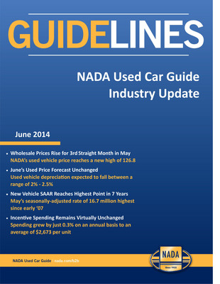 June edition of Guidelines, NADA's monthly report on new and used vehicle sales trends and price movement. (PRNewsFoto/NADA Used Car Guide)