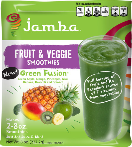 "Green Fusion(TM) is the latest in a long line of popular frozen ""at home"" smoothie kit varieties to be developed by innovative food manufacturer, Inventure Foods, Inc. (NASDAQ:SNAK), in partnership with leading smoothie retailer, Jamba Juice Company, Inc.  (PRNewsFoto/Inventure Foods, Inc.)"