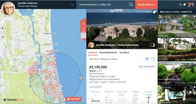 Homeasap agent IDX website with map and featured listings