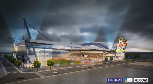 FINDLAY SPORTS & ENTERTAINMENT AND THE CORDISH COMPANIES ANNOUNCE PROPOSAL TO BRING MAJOR LEAGUE SOCCER TO DOWNTOWN - Symphony Park Would be Home to the First Professional Sports Team in the City of Las Vegas (PRNewsFoto/Findlay Sports and Entertainment)