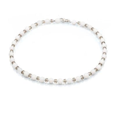 Artistic Falls Snow Quartz and Black Diamond Beaded Necklace