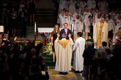 Loyola Marymount University President Timothy Law Snyder and his wife, Carol Costello, were blessed at the Mass of the Holy Spirit celebrating Snyder's inauguration on Tuesday, Oct. 6, 2015.