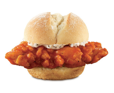 Arby's(R) Buffalo Chicken Slider features a crispy chicken tender dipped in spicy buffalo sauce, served on a warm, soft slider style roll topped with Arby's(R) Parmesan Peppercorn Ranch sauce.