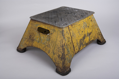 This stepstool was used by Pullman porters -- black railroad attendants who worked on Pullman sleeping cars in the 20th century -- to assist passengers, left. The porters spread copies of The Chicago Defender throughout the South, helping to promote the Great Migration of blacks to the North. Image credit: Sarah Mercier/Newseum; stool: Loan, Smithsonian National Museum of African American History & Culture (PRNewsFoto/Newseum)