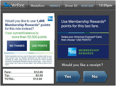 American Express Card Members can use Membership Rewards points for their fare in VeriFone-equipped NYC taxi cabs - in real-time, on the Taxi TV screen at the end of the ride.  (PRNewsFoto/American Express)