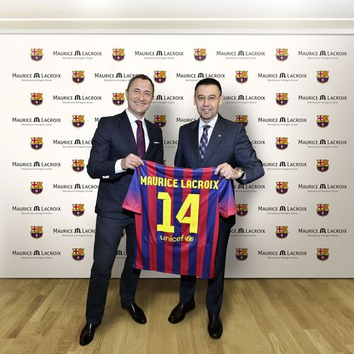 Partnership announcement Marc Glaeser Managing Director of Maurice Lacroix and Josep Maria Bartomeu, President of FC Barcelona (PRNewsFoto/Maurice Lacroix S.A.)