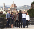 "Sony Pictures Entertainment commences principal photography in Florence, Italy on ""INFERNO,"" the new film in the billion-dollar Robert Langdon franchise, based on Dan Brown's bestselling series of books. Pictured: (Left to Right) Tom Hanks (""Robert Langdon"");  Sidse Babett Knudsen (""Dr. Elizabeth Sinskey""); Ron Howard, director/producer; Omar Sy (""Christoph Bouchard""); Dan Brown ""Inferno"" Author; Felicity Jones (""Dr. Sienna Brooks"");  - Event Date: 11 May 2015, Photo by Luca Dammicco."