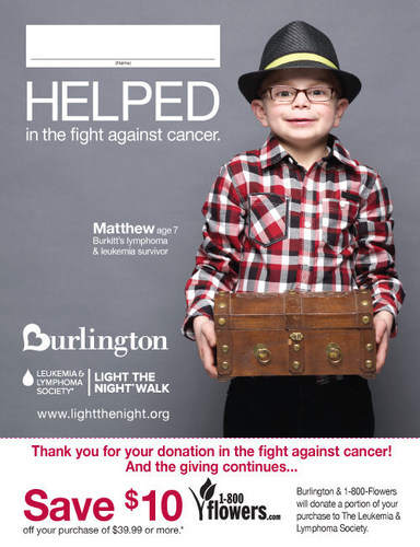 Paper icon customers receive when they make a donation at checkout to benefit LLS.  The icon features Matthew, age 7; he is a Burkitt's lymphoma and leukemia survivor.  Burlington helped fund the research that put Matthew in remission and back to his hobby of collecting treasures. (PRNewsFoto/The Leukemia & Lymphoma Society)