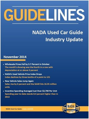 The Nov. 2014 edition of NADA Used Car Guide Guidelines report provides insightful forecasts, trends and historical information about the used and new vehicle market.