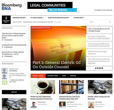 Home page of Bloomberg BNA's new online legal community, Big Law Business
