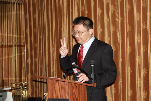 Dr. Rongxiang Xu, giving presentation in the Awarding Ceremony of Golden Biatec 2013. (PRNewsFoto/Dr. Rongxiang  ...